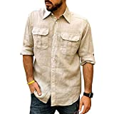 Hombres Primavera Verano Casual Slim Impreso Manga larga Camisas de playa Blusa superior
