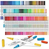 Mogyann 100 Colors Dual Tip Brush Markers, Fine Tip Coloring Markers For adult Journal Writing Coloring and Calligraphy Drawing