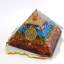 Energy Generator Seven Chakra Energy Crystal Stone EMF Protection Orgone Pyramid with Flower of Life Logo