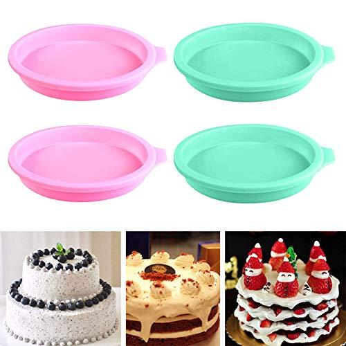 Moule à gâteau arc-en-ciel, ensemble de 4 moules à gâteau en silicone moules à gâteau rond en silicone moule à pizza 6 pouces moules à pizza ustensiles de cuisson antiadhésifs pour anniversaire de fêt