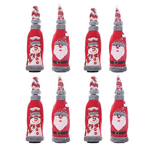 Kerstfles geschenkzak kleine rode flanel hoed wijn champagne kerstvakantie benodigdheden pak zakken versierd restaurant kerstwijn fles tas