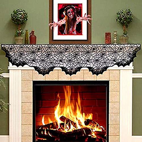 Halloween décor accessoires dentelle noire Spiderweb rideau nappe cheminée chauves-souris manteau écharpe astuce ou traiter bannière Cosplay