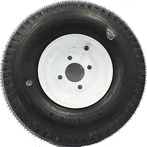 """SWW 810 LoadStar 4-hole 8"""" x 3.75"""" White Trailer Wheel & Tire 5.70-8 6ply"""