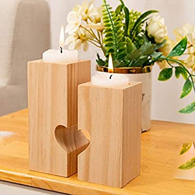 Chris.W Romantic Wooden Tea Light Candle Holders, Set of 2 Decorative Heart Shaped Wood Tealight Holders for Valentines Day W