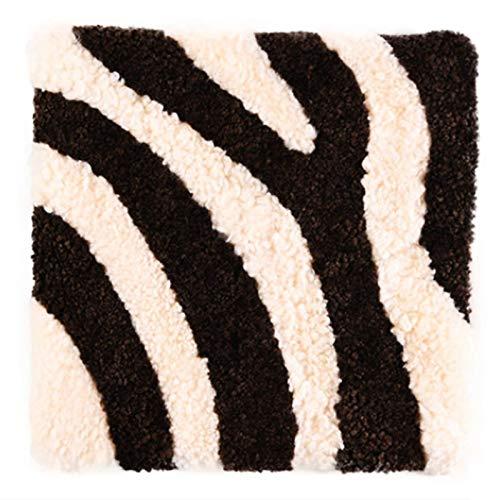 Alfombras Cuadradas De Cojín De Felpa Rizada De Rayas De Color Café Tapetes Suaves para Sofá Cojines para Sillas Hogar-45 Cm
