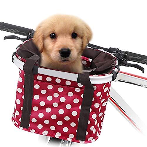 GLE2016 Fahrradkorb, faltbar, für kleine Haustiere, Katzen, Hunde, abnehmbarer Fahrrad-Lenkerkorb, Schnellverschluss, einfache Installation, abnehmbare Fahrradtasche, Mountain Picknick, Einkaufen, rot