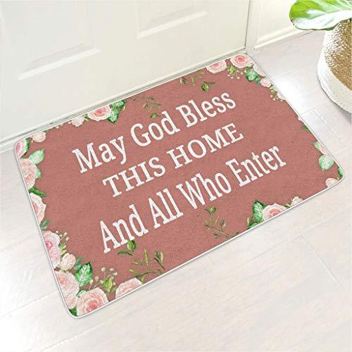 Multisize God Bless This Home Bienvenido estera rectangular felpudos diseño antideslizante interior Patio utilizar – para el hogar Decoración White 9 40 x 60 cm