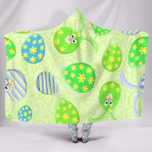 AXGM Manta con capucha para niños y niñas, diseño de flores y huevos de Pascua, color verde, impresión 3D, forro polar coral, para dormir o sillón, color blanco, 130 x 150 cm