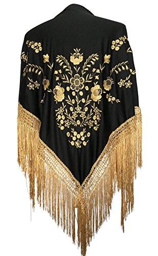 La Señorita Mantones bordados Flamenco Manton de Manila negro oro flecos oro