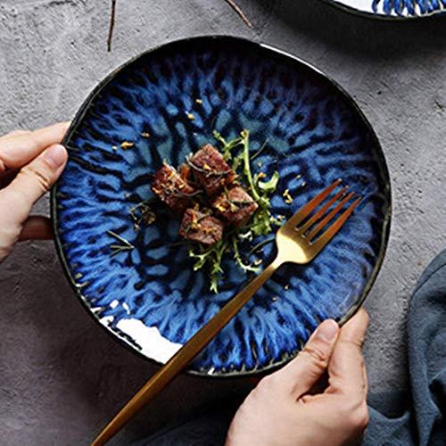 wsetrtg Platos de Cena de cerámica Platos de Ensalada Azules Platos de Servir Redondos Grandes Platos de Desayuno de Porcelana Creativa Servicio de Cena Vajilla Moderna de 10 Pulgadas