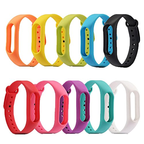SelfTek 10 Pieces Replacement Wristbands Wireless Replacement Band for Xiaomi Mi 2 Bracelet