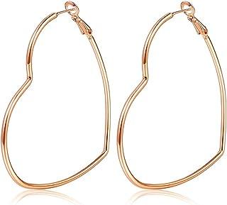 Hoop Earrings, Fashion Jewelry Statement Large Geometric Heart Hoop Earrings For Women Girls gift