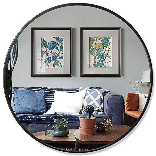 PexFix 30'' Wall Round Mirror, Modern Brushed Metal Frame Circle Wall-Mounted Decorative -