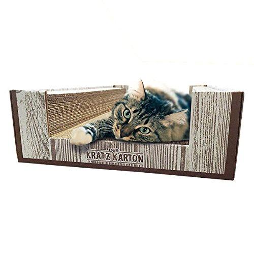 CanadianCat Company ® | Der KRATZKARTON 2.0 | XXL Scratch Lounge | Kratzmöbel, Kratzbrett | Qualitäts-Wellpappe + Katzenminze | 34 X 56 X 12cm