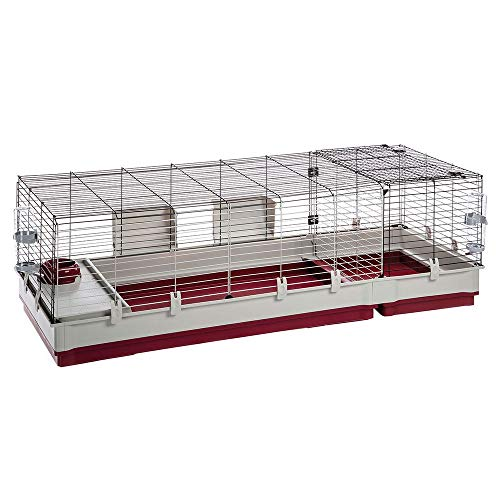 Ferplast Rabbit cage KROLIK 160, Guinea Pig and Rabbit House, Assembly kit. Separate Extension Through Metallic Grill, Accessories are Included,...