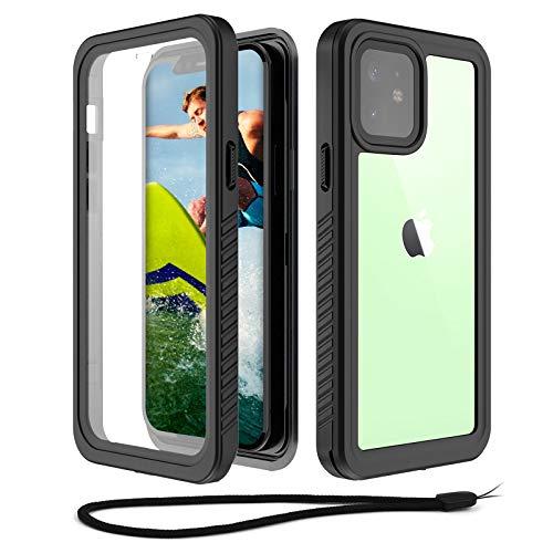 Beeasy Hülle für iPhone 12 Mini, 360 Grad Schutzhülle mit Eingebautem Displayschutz,IP68 Zertifiziert wasserdichte Handyhülle,Staubdicht Stoßfest Schneefest Outdoor Case, Schwarz