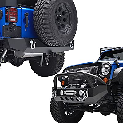 """EAG Fit for 07-18 Wrangler JK Front Bumper with Winch Plate & Rear Bumper with 2"""" Hitch Receiver Combo"""