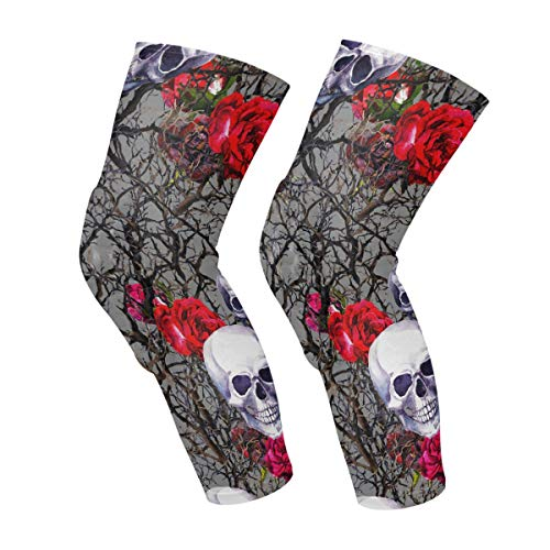 Bramble Tree Flower Rose Skull Genou Manches Veau Leg Support Compression Chaussettes Honeycomb Protector Gear