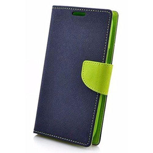 Avzax Luxury Magnetic Lock Diary Wallet Style Flip Cover Case for Karbonn Titanium Machfive - Blue
