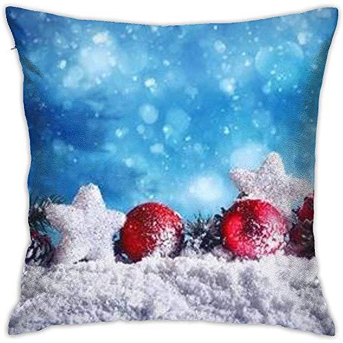 K.e.n kussensloop, kussensloop, rode kerstbal met sterren en slingers op sneeuwbal