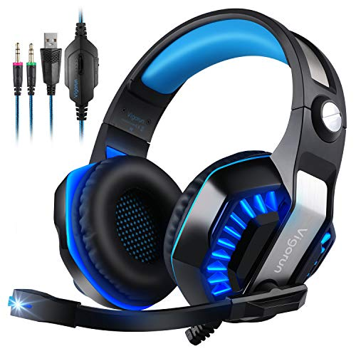 Cuffie da Gioco, Vigorun GameK2 Cuffie Gaming Over Ear con Microfono a Cancellazione Rumore LED Light 3,5mm Stereo per PC Laptop Mac iPad Xbox One PS4 PSP