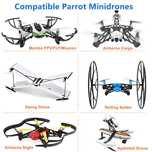 Hanatora 5 Colors Propellers Props Combo for Parrot Minidrone Mambo FPV/Fly/Mission,Swing,Rolling Spider,Airborne Cargo/Night,Hydrofoil Drone,5 Set(Colors: Blue/Red/White/Black/Yellow)