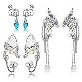 Udalyn 3 Pairs Elf Ear Cuffs Wing Earring Handmade Clip-On Earrings For Cosplay Elven Cuff Wrap Earrings Pearl Wing Tassel Filigree Fantasy Fairy Halloween Masquerade Earrings for Women