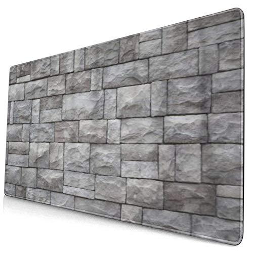 LASINSU Alfombrilla Gaming,Roca Muro Piedra Ladrillo Viejo Arquitecto Castillo Blanco,con Base de Goma Antideslizante,750×400×3mm