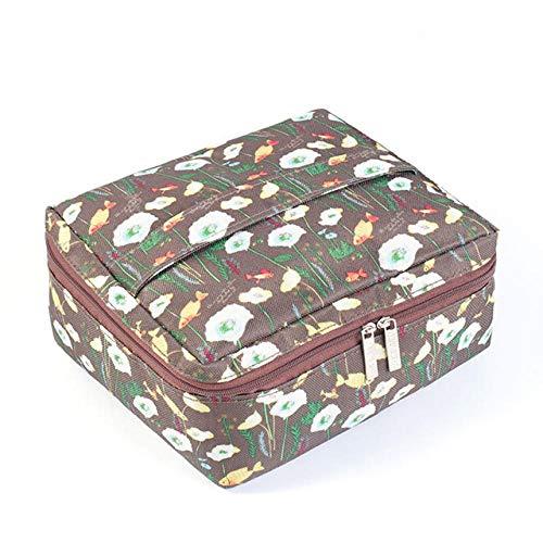 Trousses de Maquillage Trousse de Maquillage Femmes Organisateur de Voyage Trousse de Toilette Trousse de Rangement Portable Maquillage Wash Box-Coffee_20_x_17_x_9cm