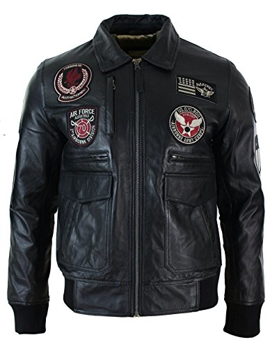 Herrenjacke 100% Echtleder Schwarz Bomber Aviator Design Air Force - Schwarz, M