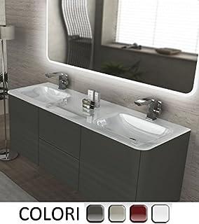 Bagno Italia Mueble de baño decoración Liverpool suspendido 140cm Doble lavamanos en Cristal Blanco con 4 Colores Muebles
