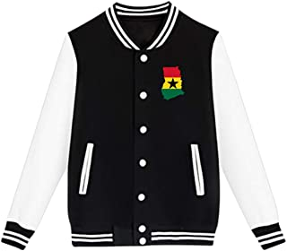 WFIRE Baseball Jacket Flag Map of Ghana Custom Fleece Varsity Uniform Jackets Coats for Youth