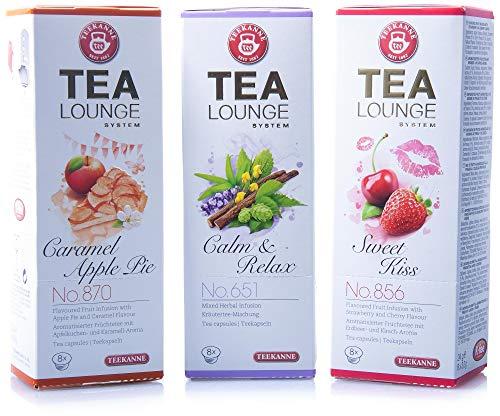 Teekanne Tealounge Kapseln - Neuheiten-Mix - Die Neuen Kräuter- und Früchtetees im 3er Pack (24 Kapseln)