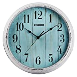 HYLANDA Wall Clock - Vintage Retro Style - 12 Inch Silent Quartz Battery Operated Non Ticking - Decorative Living Room Kitchen Hoom School Office(Blue Wood Grain)
