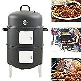 JIASHU Bullet Charcoal Smoker, vertikaler 17-Zoll-Stahl-Holzkohle-Räucherofen, runder Hochleistungs-BBQ-Grill für das Kochen im Freien, Smokey Mountain Cooker, Schwarz