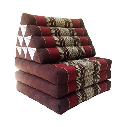 Collumino, materasso da meditazione tradizionale thailandese Kapok a 3 strati, con cuscino reclinabile triangolare in stile orientale, per yoga, massaggi o relax Borgogna, marrone.