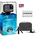 Gopro hero 7 (black) action camera w/dual battery charger and extra battery bundle 18 this k&m bundle includes all standard gopro accessories + limited 1-year warranty gopro hero 7 (black) action camera box includes: gopro hero7 black, rechargeable battery, the frame for hero7 black, curved adhesive mount, flat adhesive mount, mounting buckle, usb-c cable, limited 1-year warranty. Gopro hero 7 (black) action camera highlights: 4k60/50, 2. 7k120/100 & 1080p240/200, 12mp still photos with selectable hdr, hypersmooth video stabilization, direct live streaming to facebook live