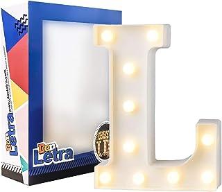 DON LETRA Letras Luminosas Decorativas con Luces LED, Letras del Alfabeto A-Z, Altura de 22cm, Color Blanco - Letra L