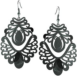 Ottone orecchini nero pietra a forma di goccia orecchini motivo linee