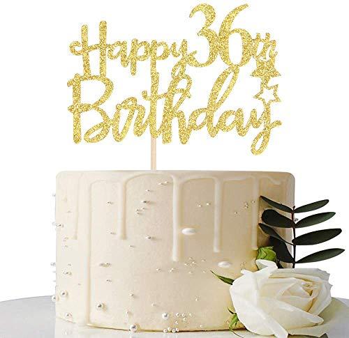 Decoración para tarta de 36 cumpleaños con purpurina dorada, 36 adornos para tartas, suministros para fiesta de cumpleaños 36, decoraciones para fiesta de cumpleaños 36