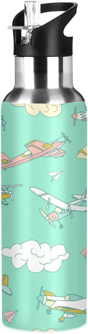 ADKing Botella de agua de avión Cloud Patttern de 20 onzas para deportes a prueba de fugas, botella de agua sin BPA de acero inoxidable