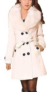 FSSE Women's Faux Fur Collar Overcoat Winter Wool Blend Warm Pea Coat Jacket