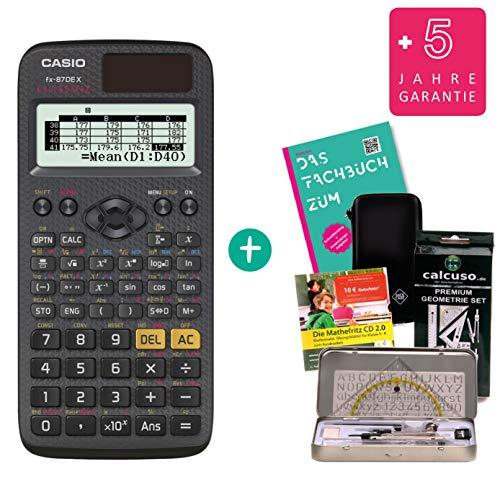STREBERPAKET: Casio FX-87DE X + Schutztasche + Fachbuch + erweiterte Garantie + Lern-CD + Premium Geometrie-Set