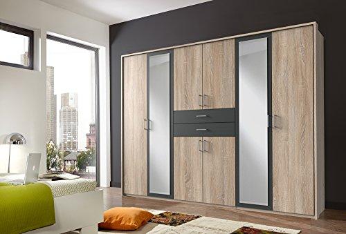 lifestyle4living Kleiderschrank mit Spiegel, Eiche Sonoma, Graphit-Grau, 270 cm | Drehtürenschrank 8 türig mit 2 Schubladen im Industrial Stil