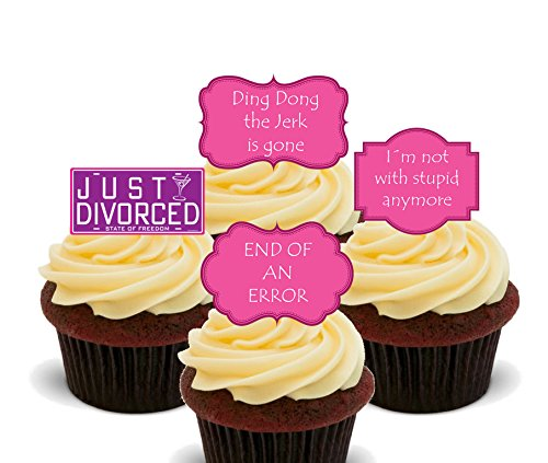 Made4You Just Divorced - Funny Edible Cupcake Toppers - Stand-up Wafer Cake Decorations (Pack of 12)