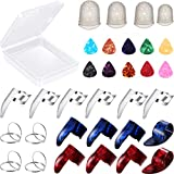 34 Pieces Guitar Accessory Kit Including 18 Pieces Finger Picks Thumb Picks, 12 Pieces Guitar Picks and 4 Pieces Guitar Finger Protectors...