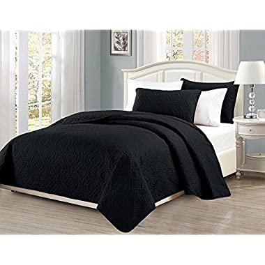 Linen Plus King/California King 3pc Embossed Coverlet Bedspread Set Diamond Pattern Over Size Black