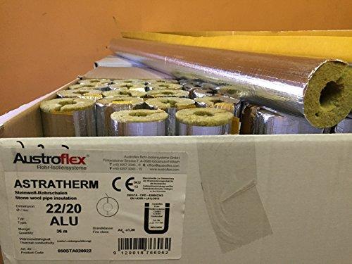 Austroflex Rohrisolierung 22 x 20mm voller Karton 36m Inhalt (1,60€/Meter) Rohrschalen alukaschiert Steinwolle Mineralfaserschale Isolierung