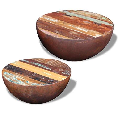 vidaXL Massivholz 2X Couchtisch Wohnzimmertisch Kaffeetisch Beistelltisch Antik