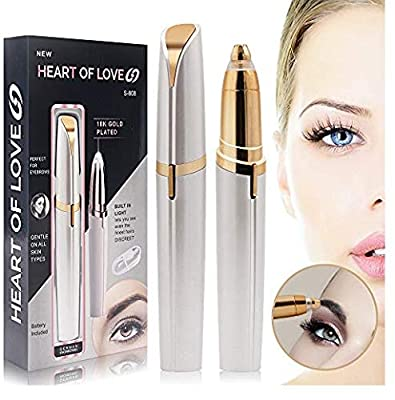 Electric Eyebrow Hair Remover for Women,Nuobk Portable Rechargeable Women's Painless Brows and Facial Hair Trimmer for Nose (Gold)